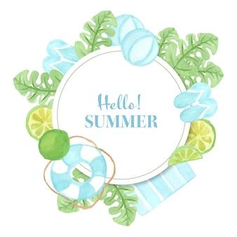 Banner de verão com aquarela elemento de praia