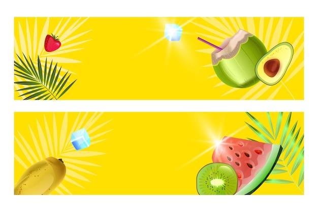 Banner de verão com coco verde, melancia, fatia de kiwi e manga