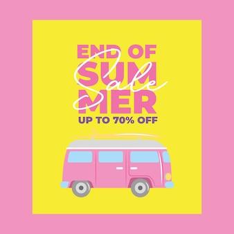 Banner de verão com desenho animado de van de carro. fim da venda de verão ilustração vetorial