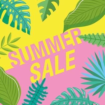 Banner de verão com desenho de folhas tropicais. ilustração em vetor