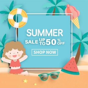Banner de verão com flamingo tropical e elementos de verão.