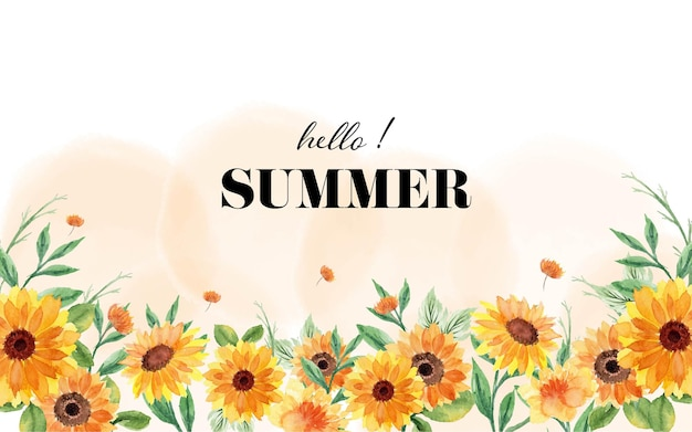 Banner de verão com flores em aquarela