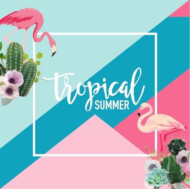 Banner de verão com flores tropicais de cactos e pássaros flamingo