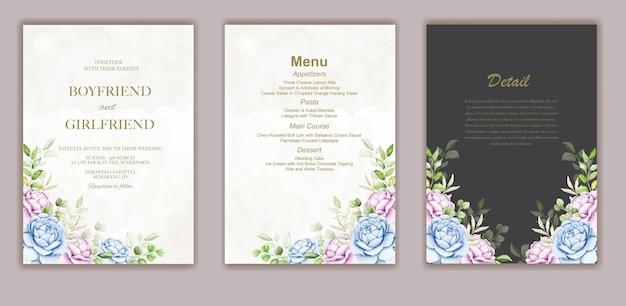 Banner de verão com folha de flores em aquarela