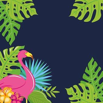 Banner de verão com folhas tropicais com ilustração vetorial de flamingo