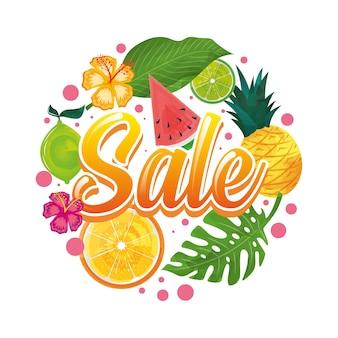 Banner de verão com frutas tropicais e ilustração de folhas. liquidação de verão. desenho vetorial