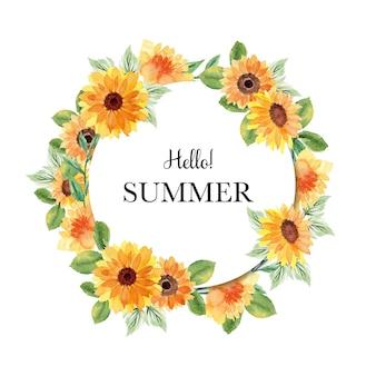 Banner de verão com guirlanda floral em aquarela
