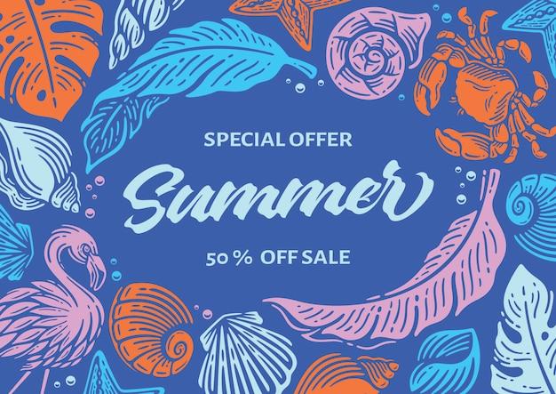 Banner de verão com moldura de elemento de praia em azul