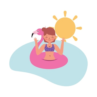 Banner de verão com mulher no mar. dia de verão. ilustração vetorial