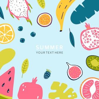 Banner de verão com pedaços de frutas maduras e bagas isoladas em fundo azul. ilustração vetorial