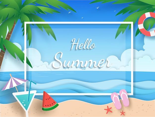 Banner de verão com praia, mar, nuvem, coqueiro, suco e melancia com corte de papel