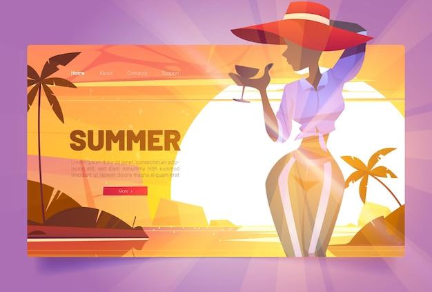 Banner de verão com silhueta de mulher de chapéu com coquetel