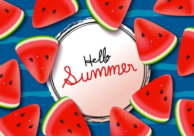 Banner de verão de fundo de melancia