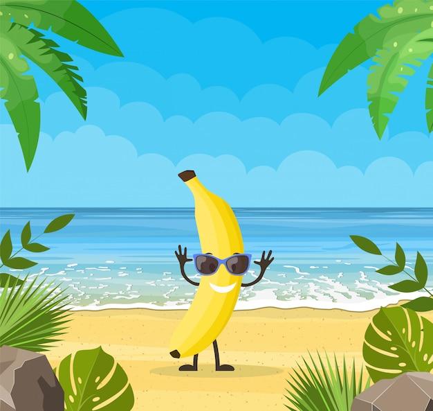 Banner de verão engraçado com personagens de frutas.