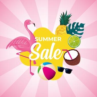 Banner de verão. flamingo entre frutas tropicais e folhas. liquidação de verão