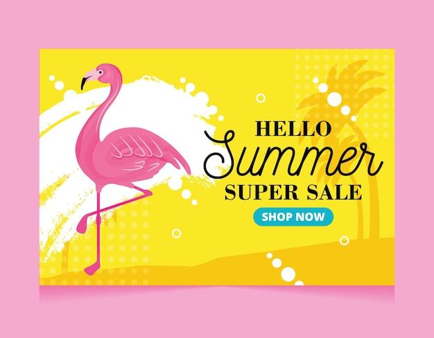 Banner de verão. flamingo. olá super promoção de verão