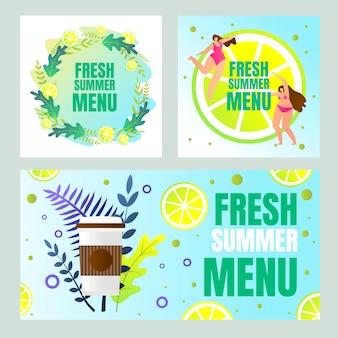 Banner de verão fresco conjunto com tipografia
