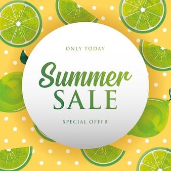 Banner de verão. ilustração de fundo padrão de limões. liquidação de verão