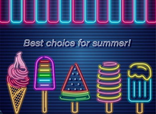 Banner de verão néon de sorvete