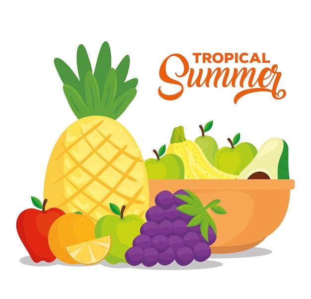 Banner de verão tropical com frutas frescas e saudáveis