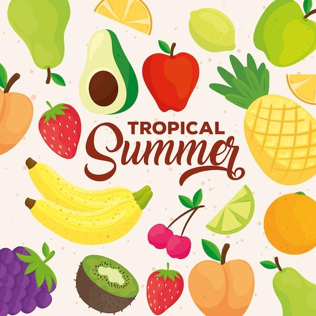 Banner de verão tropical, com frutas frescas