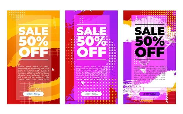 Banner de vetor abstrato vertical definido com porcentagens de venda