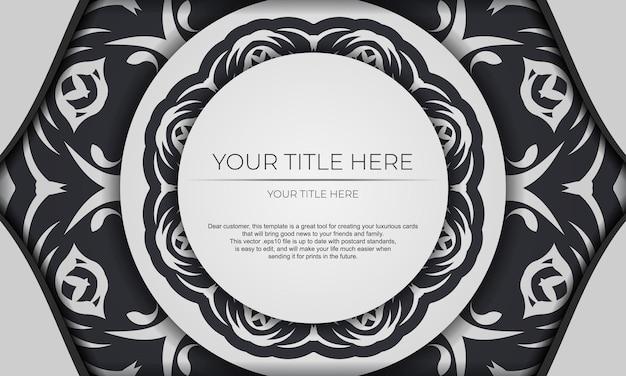 Banner de vetor branco com ornamentos abstratos e lugar para o seu texto. modelo de cartão de convite para impressão de design com padrões de mandala.