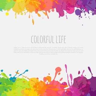 Banner de vetor brilhante com moldura colorida com respingos de tinta e manchas