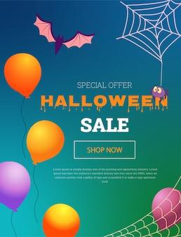 Banner de vetor com balões, uma aranha e um morcego para uma liquidação de halloween