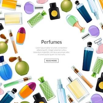 Banner de vetor com frascos de perfume