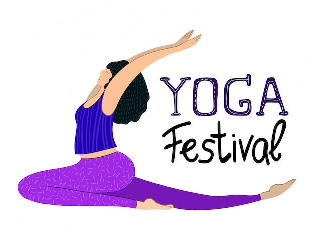 Banner de vetor com garota praticando ioga, letras