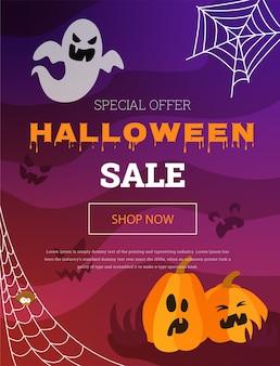 Banner de vetor com uma abóbora e um fantasma para uma liquidação de halloween