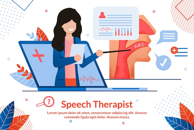 Banner de vetor de consulta on-line de terapeuta de discurso
