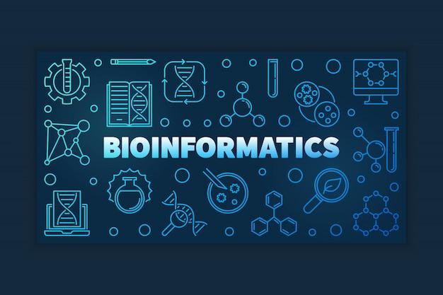 Banner de vetor de contorno azul de bioinformática