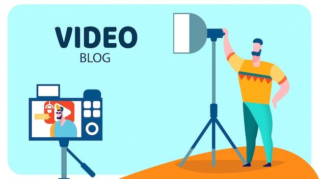 Banner de vetor de estúdio de gravação de vídeo profissional