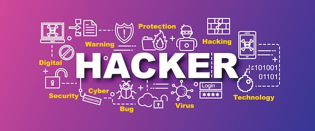 Banner de vetor de hacker na moda