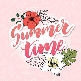 Banner de vetor de horário de verão com flores