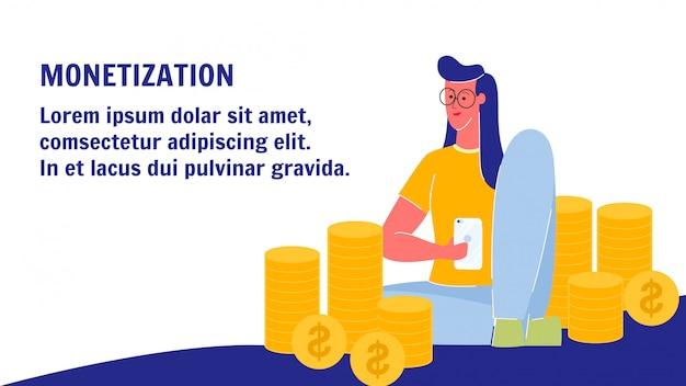 Banner de vetor de monetização web com espaço de texto