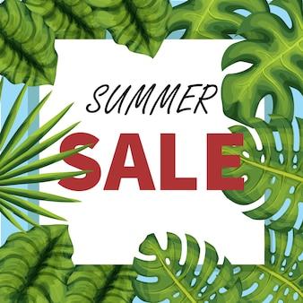 Banner de vetor de venda de verão com plantas exóticas. folhas de palmeira realista