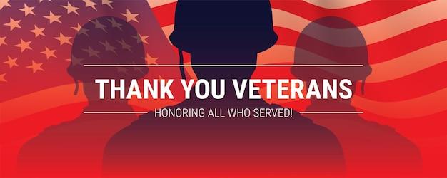 Banner de vetor do dia dos veteranos com silhuetas de soldados e bandeira dos eua
