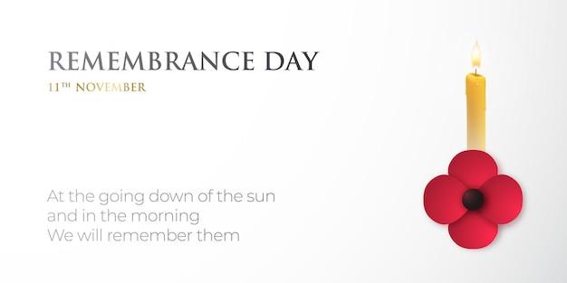 Banner de vetor para o dia da lembrança com flor de papoula e vela