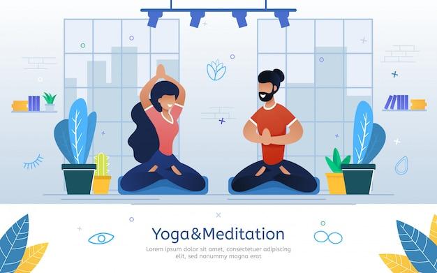Banner de vetor plana de cursos de ioga e meditação