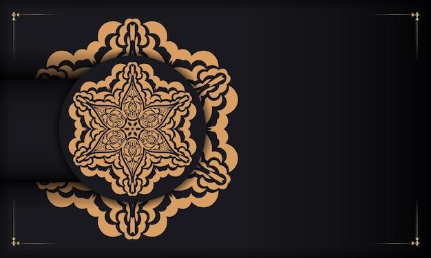 Banner de vetor preto com enfeites de luxo para seu logotipo. modelo de design de impressão de cartão postal com ornamentos vintage.