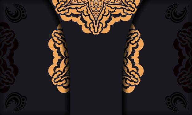 Banner de vetor preto com enfeites de luxo para seu logotipo.