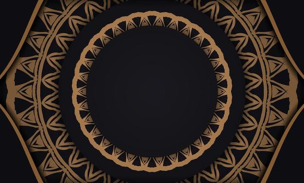 Banner de vetor preto com enfeites e lugar para o seu texto e logotipo. modelo de plano de fundo de design para impressão com padrões abstratos.