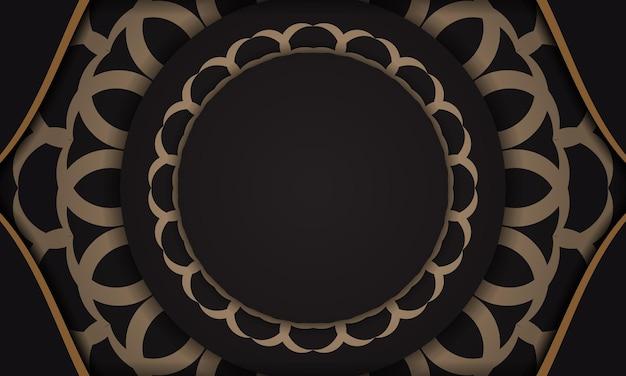 Banner de vetor preto com ornamentos de luxo e lugar para o seu logotipo e texto. modelo de design de impressão de cartão postal com ornamentos vintage.