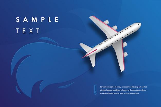 Banner de viagem com um avião