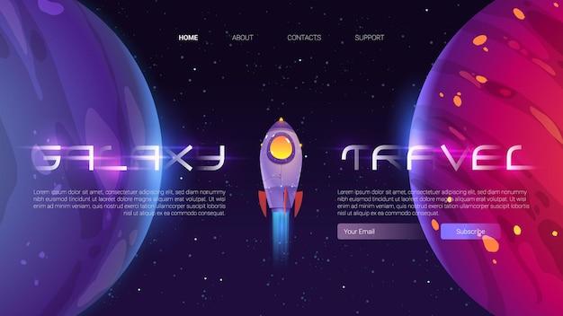 Banner de viagem da galáxia com nave espacial e planetas