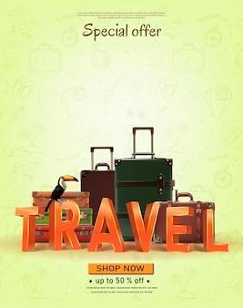 Banner de viagem de vetor com elementos desenhados à mão, tempo de viagem de verão para conceito de viagem