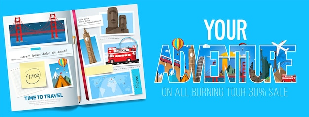 Banner de viagem estiloso com álbum aberto, fotos, notas e adesivos